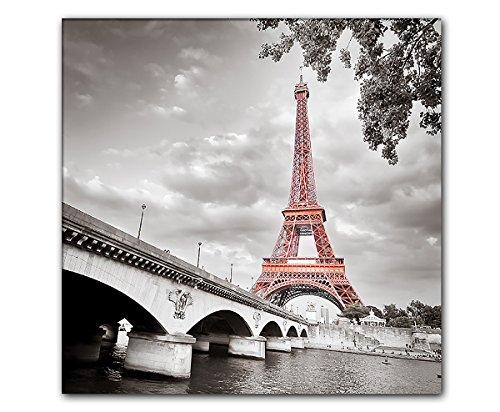 DEINEBILDER24 - Wandbild XXL eyecatcher roter Eiffelturm Paris 50 x 50 cm auf Leinwand und Keilrahmen. Beste Qualität, handgefertigt in Deutschland!