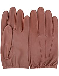 Mens Classic Driving Gloves Vintage Button Style Soft Lambskin Leather Dress Fashion (Large, Brown - 790)