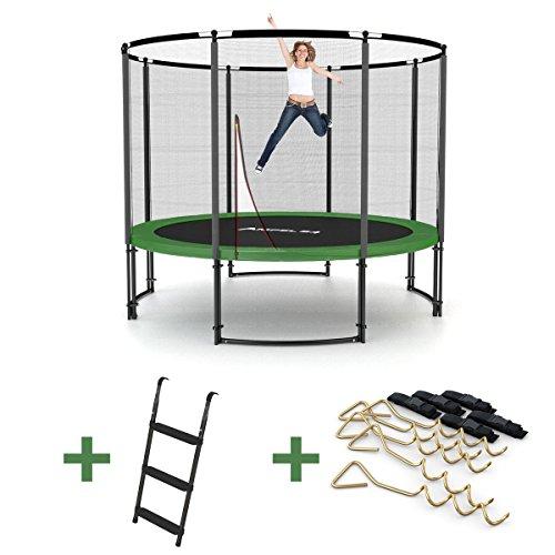 Deluxe Outdoor Trampolin 305 cm mit Netz, Leiter & Windsicherung | Gartentrampolin mit dem Maximum an Sicherheit | Belastbarkeit 150 kg | Gratis Expander