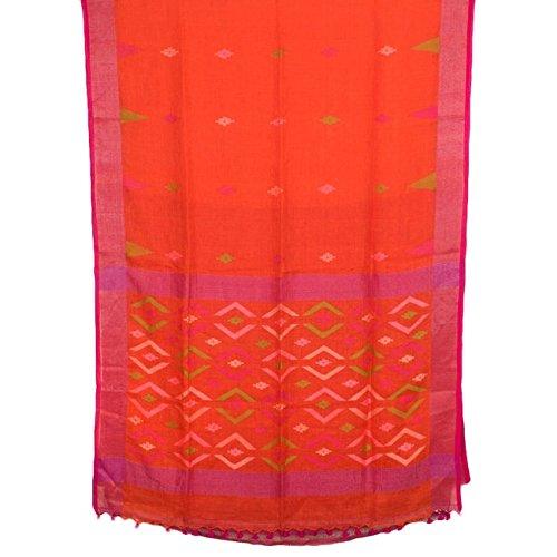 The Weave Traveller Linen Saree With Blouse Piece (Twt_L_Orgzari_144_Orange_Free Size)
