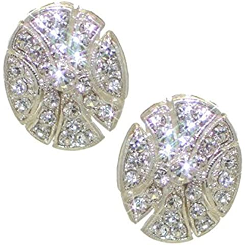 HALOLANI Clip del cristallo d'argento orecchini - Orecchini Di Clip D'argento Ovali