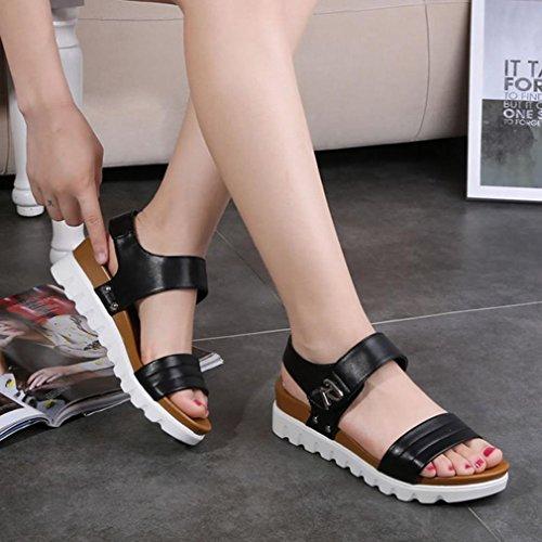 DM&Y 2017 estate signora spessa crosta pendenza testa di pesce con i sandali focaccina con le scarpe con velcro in Black