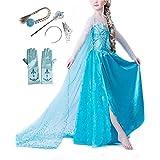 Traje de la Princesa Elsa Reina de la Nieve Para niñas - Accesorios: Corona Diadema + Varita Mágica + Peluca + Guantes (2-3 años)