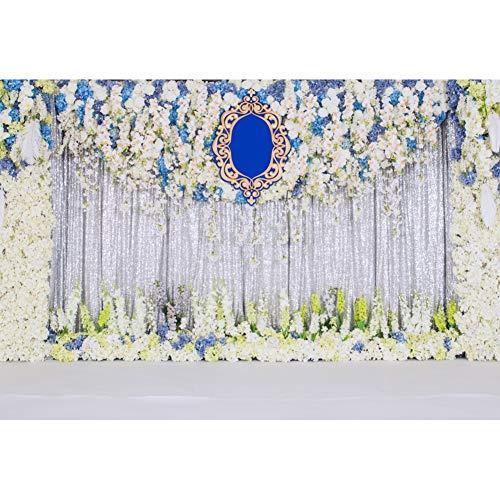 YongFoto 1,5x1m Vinyl Foto Hintergrund Hochzeitshintergrund Blumen verziert Silber Pailletten Vorhang Fotografie Hintergrund Valentinstag Hochzeit Partydekoration Fotostudio Hintergründe Foto -