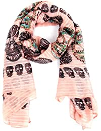 Calonice Amorino Damen Schal Tuch Pink Totenkopf Muster 100% Polyester (L) 185x95 cm (LxH) 2002
