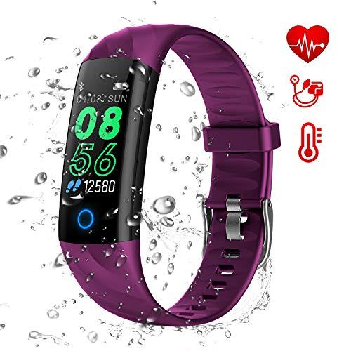 AK1980 Fitness Tracker Uhr,Aktivitätstracker Uhr mit Pulsuhren IP68 Wasserdicht Smart Watch Schrittzähler Kalorienzähler Sportuhr Stoppuhr für Kinder,Frauen & Männer Fitness Armband (Purple)