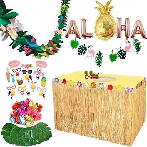 dekoration 83er Set Hawaii Luau Tischröcke Aloha Hawaii Party Banner Deko Garten Strand Sommer Tiki Party Dekoration ()