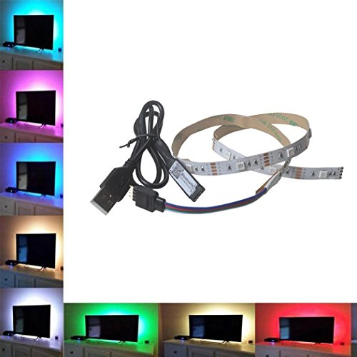 TAOtTAO 5V 5050 9-30SMD/30-100 CM RGB LED Streifen Lichtleiste TV Hintergrundbeleuchtung + BT 4.0 (A)