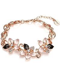 Hot And Bold Tantalizing Fashion Flowers Charm Bangles Bracelets, Free Size - Gold & Black
