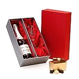 Luxus Mondelli Sparkling Rose Wein und Weinglas mit belgischen Pralinen Rot und Silber Geschenkbox NV 75cl - Geschenkideen für Geburtstag, Jubiläum und Glückwunsch Geschenke