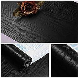 Jlcorp Noir mat Grain Bois texturé Contact papier film de vinyle autocollant Papier peint étagère Liner Doublure de tiroir Peel-stick Countertop Autocollant 3m 3metres