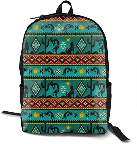 School Backpack Bookbag Southwestern Kokopelli Native American Daypack for Middle High School College Student, Fits 15 inch Laptop Computer Bag -
