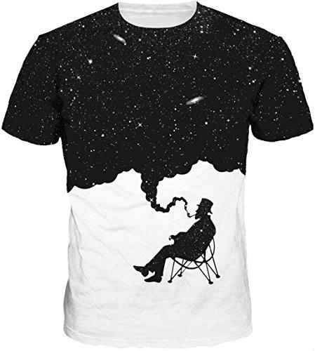 Kinchenet Unisex Casual 3D Kreative Bedruckte Raucher Person Hawaiian Kurzarm T-Shirts Top Tees