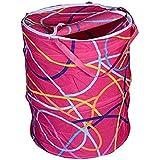 Deviakshaya Round Cloth Foldable Laundry Basket Bag, Volume:-30L,Multi Color