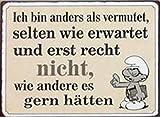 1art1 98227 Motivation - Ich Bin Anders als Vermutet, Selten Wie Erwartet und Erst Recht Nicht, Wie Andere Es Gern Hätten, Schlaubi Schlumpf Poster Blechschild 35 x 26 cm