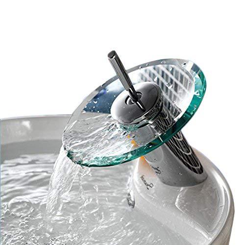 Ridgeyard Glas Waschtischarmatur Armatur Waschbecken Einhebelmischer  Wasserhahn Bad Küche Home Kitchen Waterfall Glass Fountain Basin Bathroom