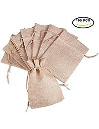 Pandahall - Lot de 100Pcs Pochettes/Sachets en Lin/Chanvre avec Cordon Couleur Jaune Claire 13.5x9.5cm