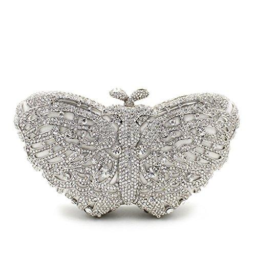 Donna di strass preferiti farfalla colorata Borse sera Wallet borsetta G