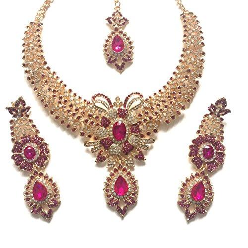 chamak Pink Gold Bollywood Inspiriert Kristall Nieten Kostüm Schmuck Set mit Halskette Ohrringe und Einem Kopf 3Kette