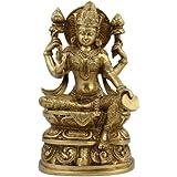 Lakshmi Idol Goddess Hinduism Belief Statue And Sculpture; Brass; 12.07 x 20.32 x 6.35 cm