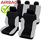 Akhan SB101 - Qualität Auto Sitzbezug Sitzbezüge Schonbezüge Schonbezug mit Seitenairbag Schwarz / Grau
