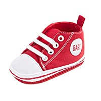 Sweet Canvas Baby Sneaker Antiskid Soft Cute Trainer Shoes 0-18M (M: 6 ~ 12 Monate, Red)