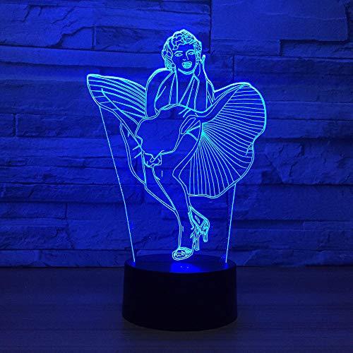 Gyybfhn Nachtlichter & Schlummerleuchten Tinker Bell 3D LED LAMPE 7 Farben ändern Lichter Ausstellung Kind Nachttisch Dekor Nachtlicht Mädchen Weihnachtsgeschenke Spielzeug -