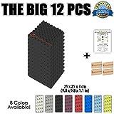 Super Dash (Lot de 12) de 25 X 25 X 3 cm Noir Insonorisation Egg Crate Acoustique d'isolation Traitement de Mousses Carreaux Panneaux SD1052 (NOIR)