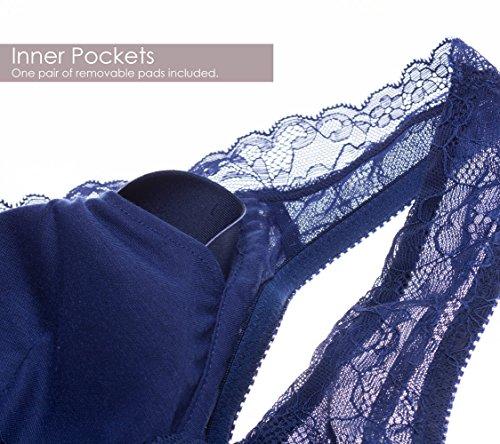 Intimate Portal Damen Ange BH ohne Bügel, mit Spitze und Floralem Design mit Taschen Beige