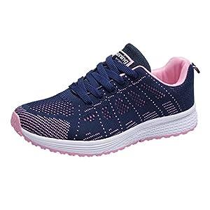 Zarupeng Damen Flache Turnschuhe, Mode Mesh Atmungsaktive Laufschuhe Schnürer Sportschuhe Trainer Schuhe Freizeitschuhe