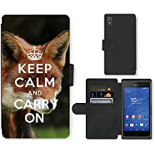 PU Cuir Flip Etui Portefeuille Coque Case Cover véritable Leather Housse Couvrir Couverture Fermeture Magnetique Silicone Support Carte Slots Protection Shell // Q01012834 keep calm and carry on 585 // Sony Xperia Z3 D6603 D6633 D6643 D6653 D6616