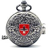 Infinite U Cruz de Suiza Flores Números Romanos Acero Reloj de bolsillo mecánico Gris