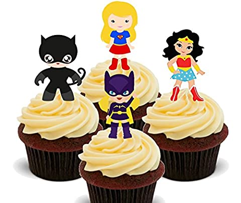 Superhero fille–Décorations à gâteau comestibles pour cupcakes–Col Montant, Pack of