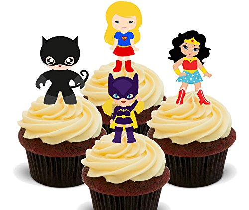 Torten-, Cupcake-Dekoration - Superheldinnen-Motive, essbar, Essoblaten zum Aufstecken, (Ideen Up Cat Dress)