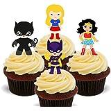 Superhero Girls–Decoración comestible para cupcakes–para tartas de oblea decoraciones, 12 unidades