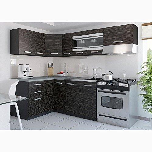 JUSThome Torino III L-Küche Küchenzeile Küchenblock 130×230 cm Länge in zwei Griffvarianten auswählbar
