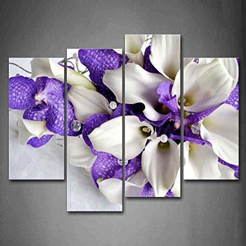 Bündel Von Blumen Im Weiß Und Dunkel Lila Wandkunst Malerei Das Bild Druck Auf Leinwand Blume Kunstwerk Bilder Für Zuhause Büro Moderne Dekoration (Lila Und Weiß-malerei)