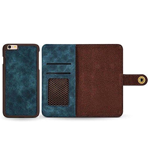 Custodia iPhone 7, Custodia iPhone 8, [2 in 1] [Portafoglio Rimovibile] [Retro Premium Esterno PU Pelle e Apri Pelle Vero di Interno] Cover per Apple iPhone 8 (2017), Verde Scuro Blu Scuro