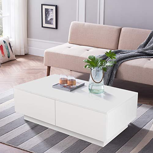 Konsole Zu Hause (Couchtisch Wohnzimmertisch Hochglanz Weiß mit 4 Schubladen Modern Design Sofatisch Kaffeetisch Tisch Holz für Wohnzimmer Büro Wohnzimmermöbel 95 x 60 x 31 cm)