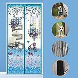 SLM-max Magnetische Fliegenschutztür, Moskitonetz automatisch schließen, für Wohn- / Terrassentür - Klettverschluss Einfach zu montierender Blauer Trolley,85x200cm