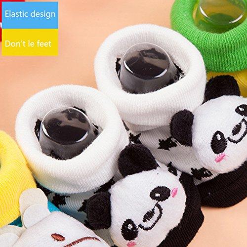 Hemore Baby-Socken für Neugeborene, bequem, Baumwolle, mit Cartoon-Motiv, rutschfest, für 6-18 Monate, 1 Paar
