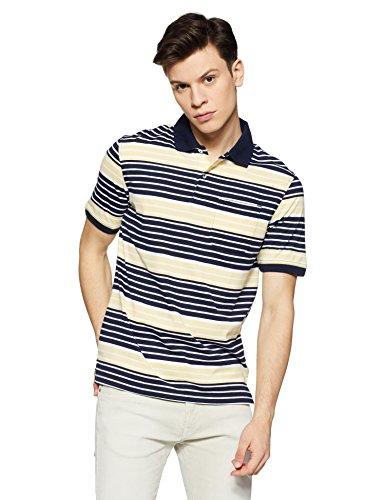 Peter England Men's Striped Regular Fit T-Shirt (PKW417002285XXL_MediumgreyWithGreen_XX-Large)