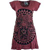 Guru-Shop, Sure Long Shirt, Minidress Mandala, Bordeaux, Cotton, Size:S (10), Printed T-Shirts