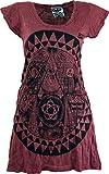 Guru-Shop Sure Long Shirt, Minikleid Mandala, Damen, Bordeaux, Baumwolle, Size:L (40), Bedrucktes Shirt Alternative Bekleidung