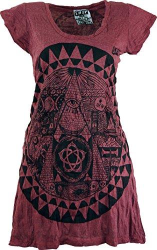 GURU-SHOP, Camisa Sure Long, Minivestido Mandala, Burdeos, Algodón, Tamaño:S (36), Camisas Seguras