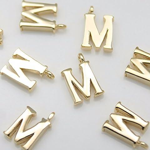 2pezzi di lucido oro lucido dell' alfabeto 'M' ciondoli Connettori Links perline in metallo ottone placcato in oro 16K per orecchini collana braccialetti etc. Gioielli forniture–Annielov # Annielov in-1-gd-m