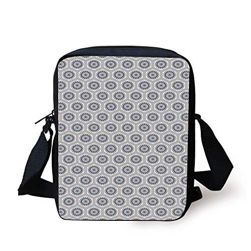 Geometric,Comb Design Kikko Tortoise Shell Pattern Western Asian Influences Hexagon Motifs,Grey White Print Kids Crossbody Messenger Bag Purse