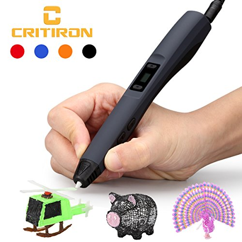 CRITIRON 3D Stift Set 3D Druckstifte Mit Stifthalter 3 Filaments Aufbewahrungskoffer Tragbare Tasche 3D Printing Pen Drawing Schwarz Für Kinder Gute Geschenke - 3