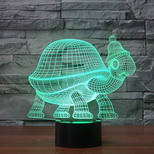 3D Tortue Turtle Lampe Illusion Optique LED Veilleuse Optiques Illusions Lampe de Nuit 7 Couleurs Tactile Lampe de Chevet Chambre Table Art Déco Enfant Lumière de Nuit avec Cable USB