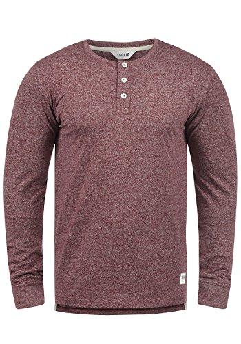 SOLID Espen Herren Longsleeve Langarm-Shirt mit Grandad-Ausschnitt aus 100% Baumwolle Meliert Slim Fit , Größe:L, Farbe:Wine Red Melange (8985) (Grandad-kragen-shirt)